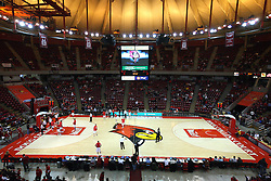 05 January 2013: Doug Collins Court is lit in Redbird Arena during an NCAA Missouri Valley Conference (MVC) mens basketball game between the Northern Iowa Panthers and the Illinois State Redbirds in Redbird Arena, Normal IL