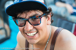 """Coast-to-coast """"Stampeder"""" Valarde Gonzales Friday as the Smokeout gets going. Rockingham, NC. USA. June 19, 2015.  Photography ©2015 Michael Lichter."""