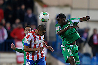 17.01.2013 SPAIN - Copa del Rey Matchday 1/2th  match played between Atletico de Madrid vs Real Betis Balompie (2-0) at Vicente Calderon stadium. The picture show  Daniel Alberto Diaz (Argentina defender of At. Madrid)