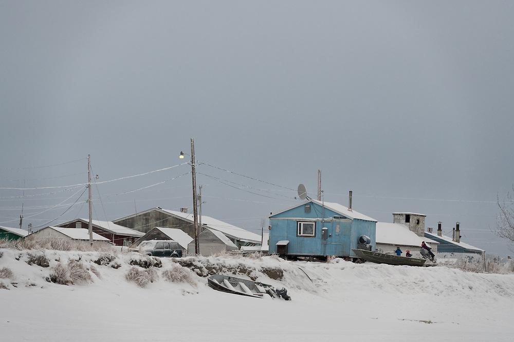 A village along the Kuskowkim River in interior Alaska