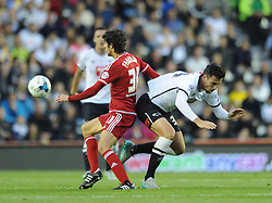 Diego Fabbrini of Middlesbrough jostles for the ball with George Thorne of Derby County - Mandatory byline: Dougie Allward/JMP - 07966386802 - 18/08/2015 - FOOTBALL - iPro Stadium -Derby,England - Derby County v Middlesbrough - Sky Bet Championship