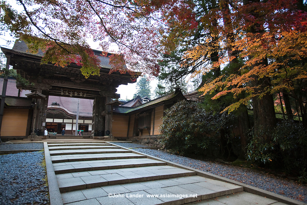 """Kongobuji Temple Gate - Kongobuji is the head temple of the Shingon sect of Buddhism, located on Mount Koya. Its name means """"Temple of the Diamond Mountain"""" and is a UNESCO World Heritage Site."""