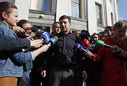 May 4, 2019 - Kiev, Ukraine - Ukraine's President-elect Volodymyr Zelenskiy (C) speaks to media after meeting Parliament members in Kiev, Ukraine, on May 4, 2019. (Credit Image: © Str/NurPhoto via ZUMA Press)