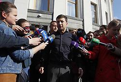 May 4, 2019 - Kiev, Ukraine - Ukraine's President-elect Volodymyr Zelenskiy (C) speaks to media after meeting Parliament members in Kiev, Ukraine, on May 4, 2019. (Credit Image: © Str/NurPhoto via ZUMA Press)