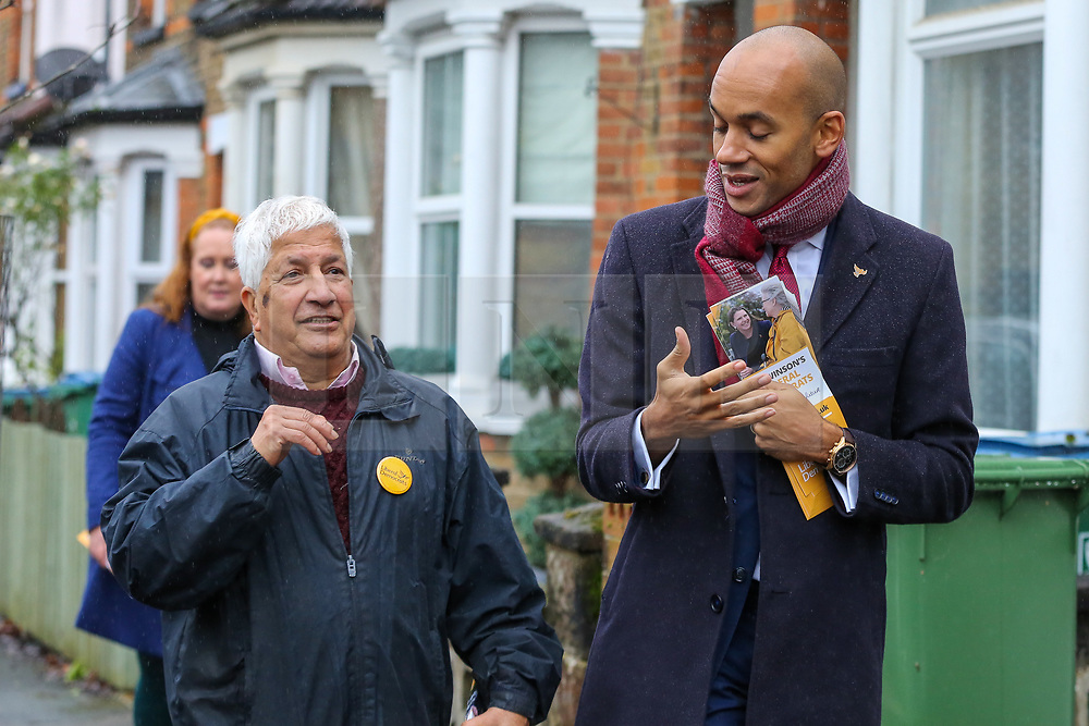 © Licensed to London News Pictures. 25/11/2019. Watford,  Hertfordshire UK. Liberal Democrat Foreign Affairs Spokesman and candidate of Cities of London & Westminster, CHUKA UMUNNA joins Councillor for Central Watford Ward, RABINDRANATH MARTINS during national canvassing in Watford. Britons go to the polls on 12 December in a General Election.Photo credit: Dinendra Haria/LNP