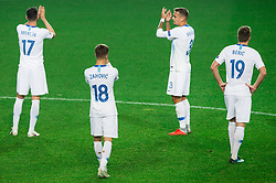 Miha Mevlja of Slovenia, Luka Zahovic of Slovenia, Jure Balkovec of Slovenia and Robert Beric of Slovenia after the football match between National Teams of Slovenia and Cyprus in Final Tournament of UEFA Nations League 2019, on October 16, 2018 in SRC Stozice, Ljubljana, Slovenia. Photo by Vid Ponikvar / Sportida