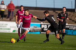 Arbroath's Mark Whatley and Clyde's Christopher McStay. half time : Arbroath 0 v 1 Clyde, Tunnocks Caramel Wafer Challenge Cup 4th Round, played 12/10/2019 at Arbroath's home ground, Gayfield Park.