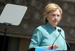 File photo : Democratic candidate for President Hillary Clinton gives a speech by the closed down Trump Plaza on the Atlantic City boardwalk in Atlantic City, NJ, USA, on July 6, 2016. Hillary Clinton after greeted people on strike outside of Trump Taj Mahal. On Tuesday F.B.I. director, James B. Comey recommended no criminal charges against Hillary Clinton for her handling of classified information while she was secretary of state. Photo by Dennis Van Tine/ABACAPRESS.COM