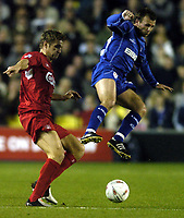 Fotball<br /> Foto: BPI/Digitalsport<br /> NORWAY ONLY<br /> <br /> 26/10/2004 <br /> <br /> Millwall v Liverpool<br /> <br /> Carling Cup 3rd Round, The New Den<br /> <br /> Jody Morris takes to the air against Igor Biscan