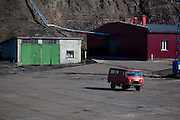 UAZ 452 Bukhanka van in the port Barentsburg, a Russian coal mining town in the Norwegian Archipelego of Svalbard. Once home to about 2000 miners and their families, less than 500 people now live here. UAZ 452 Bukhanka van in Barentsburg, a Russian coal mining town in the Norwegian Archipelego of Svalbard. Once home to about 2000 miners and their families, less than 500 people now live here.