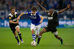03.11.2011, Veltins Arena, Gelsenkirchen, GER, UEFA Europa League, FC Schalke 04 (GER) vs AEK Larnaca FC (CYP), im Bild Zweikampf Jan Moravek (#16 Schalke) - Njongo Priso (#21 Larnaca) // during FC Schalke 04 (GER) vs AEK Larnaca FC (CYP) at Veltins Arena, Gelsenkirchen, GER, 2011-11-03. EXPA Pictures © 2011, PhotoCredit: EXPA/ nph/  Kurth       ****** out of GER / CRO  / BEL ******