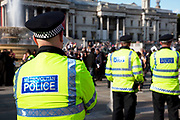 """Metropolitan Police force officers policing a demonstration in central London. The Metropolitan Police Service (MPS) is the territorial police force responsible for Greater London, excluding the """"square mile"""" which is the responsibility of the City of London Police. The MPS also has significant national responsibilities such as co-ordinating and leading on counter-terrorism matters and protection."""