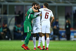 January 21, 2018 - Milan, Italy - Alisson Becker with Gerson and Kevin Strootman of Roma  during the Serie A match between FC Internazionale and AS Roma at Stadio Giuseppe Meazza on January 21, 2018 in Milan, Italy. (Credit Image: © Matteo Ciambelli/NurPhoto via ZUMA Press)
