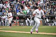 CHICAGO - MAY 10:  Gordon Beckham #15 of the Chicago White Sox reacts after hitting a game winning, walk-off single against the Cincinnati Red on May 10, 2015 at U.S. Cellular Field in Chicago, Illinois.  (Photo by Ron Vesely)   Subject:   Gordon Beckham