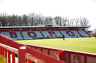 Ground shot of empty stand during the EFL Sky Bet League 2 match between Stevenage and Bradford City at the Lamex Stadium, Stevenage, England on 5 April 2021. during the EFL Sky Bet League 2 match between Stevenage and Bradford City at the Lamex Stadium, Stevenage, England on 5 April 2021.
