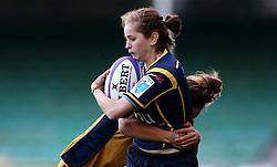 Josie Symonds of Worcester Valkyries is tackled - Mandatory by-line: Robbie Stephenson/JMP - 24/09/2016 - RUGBY - Sixways - Worcester, England - Worcester Valkyries v Bristol Ladies Rugby - RFU Women's Premiership
