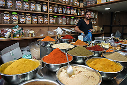 A spice seller in Machane Yehuda market in Jewish west Jerusalem. From a series of travel photos taken in Jerusalem and nearby areas. Photo date: Monday, July 30, 2018. Photo credit should read: Richard Gray/EMPICS