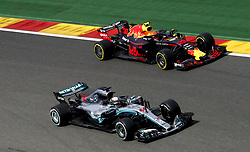 August 24, 2018 - Spa-Francorchamps, Belgium - Motorsports: FIA Formula One World Championship 2018, Grand Prix of Belgium, .#44 Lewis Hamilton (GBR, Mercedes AMG Petronas Motorsport), #33 Max Verstappen (NLD, Aston Martin Red Bull Racing) (Credit Image: © Hoch Zwei via ZUMA Wire)