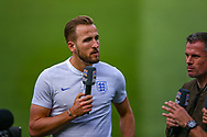 England forward Harry Kane (Tottenham) gives an interview during the England walk around the pitch ahead of the Nations League Semi-Final against Holland at Estadio D. Afonso Henriques, Guimaraes, Portugal on 5 June 2019.