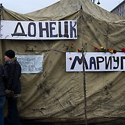 KIEV, UKRAINE - February 23, 2014: Anti-government protestors remain put in Maidan the day after the fall of Viktor Yanukovych's government. CREDIT: Paulo Nunes dos Santos