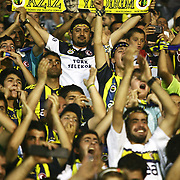 Fenerbahce's supporter shows the President Aziz Yıldırım's named and photographed flag during their Turkish Super Cup 2012 soccer derby match Galatasaray between Fenerbahce at the Kazim Karabekir stadium in Erzurum Turkey on Sunday, 12 August 2012. Photo by TURKPIX