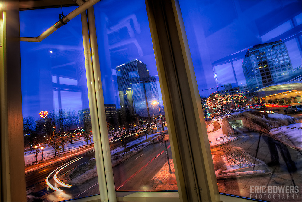 Looking at the Crown Center area of downtown Kansas City Missouri from inside The Link skywalk.