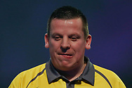 Dave Chisnall starting to look worried as he goes two sets down during the World Darts Championships 2018 at Alexandra Palace, London, United Kingdom on 29 December 2018.