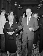 Y-600109D11.  Rudie & Rita Wilhelm at 50th Anniversary of Wilhelm Warehouse Co. banquet at Benson Hotel, January 9, 1960.