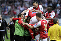 FOOTBALL - FRENCH CHAMPIONSHIP 2011/2012 - STADE DE REIMS v AS MONACO   - 07/05/2015 - PHOTO JEAN MARIE HERVIO / REGAMEDIA / DPPI - JOY REIMS AFTER THE CEDRIC FAURE'S GOAL