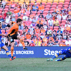 BRISBANE, AUSTRALIA - JANUARY 7: Tommy Oar of the Roar shoots on goal during the round 14 Hyundai A-League match between the Brisbane Roar and Newcastle Jets at Suncorp Stadium on January 7, 2017 in Brisbane, Australia. (Photo by Patrick Kearney/Brisbane Roar)