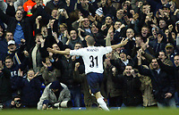 1/1/2005 - FA Barclays Premiership - Tottenham Hotspur v Everton - White Hart Lane<br />Tottenham Hotspur's opening goalscorer Dean Marney celebrtaes toward the home fans<br />Photo:Jed Leicester/Back Page Images