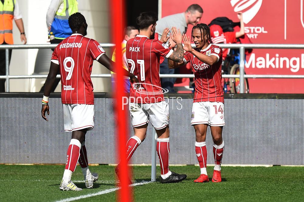 Goal - Bobby Reid (14) of Bristol City celebrates scoring a goal to make the score 4-2 during the EFL Sky Bet Championship match between Bristol City and Hull City at Ashton Gate, Bristol, England on 21 April 2018. Picture by Graham Hunt.