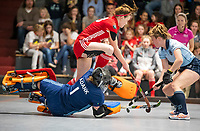 HAMBURG  (Ger) - Match 20,  for FINAL, LMHC Laren - Dinamo Elektrostal (Rus)  Photo: Iuliia Sartakova (Elektr.) is stopped by goalkeeper Karlijn Adank (Laren) . right Fabienne Roosen (Laren)  Eurohockey Indoor Club Cup 2019 Women . WORLDSPORTPICS COPYRIGHT  KOEN SUYK