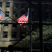 A panoramic view of the stars and stripes of the American flag catching late afternoon sunlight, Manhattan, New York, USA. 23rd July 2011. Photo Tim Clayton