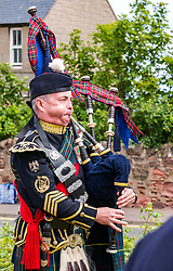 Pictured: Yeomanry receive Freedom of East Lothian, Dunbar, East Lothian, Scotland, United Kingdom, 06 July 2019. The historic Lothians and Border regiment is granted Freedom of East Lothian by Councillor Jim Goodfellow, East Lothian Council's Armed Forces Champion, which is accepted by Major S J Vine. The Yeomanry's links with the county date back to 1797.<br /> The regiment marches to Dunbar Parish Church where there is a rededication ceremony at the war memorial.<br /> <br /> Sally Anderson | EdinburghElitemedia.co.uk