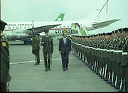 State Visit of King Juan Carlos and Queen Sophia of Spain to Ireland.<br /> 1986.<br /> 30.06.1986<br /> 06.30.1986.<br /> 30th June 1986.<br /> King Juan Carlos and Queen Sophia paid a state visit to Ireland at the invitation of President Hillery and the Irish people.<br /> The duration of the visit was three days.<br /> <br /> With the Royal aircraft in the background,King Juan Carlos,of Spain inspects the Guard of Honour,at attention on the tarmac.