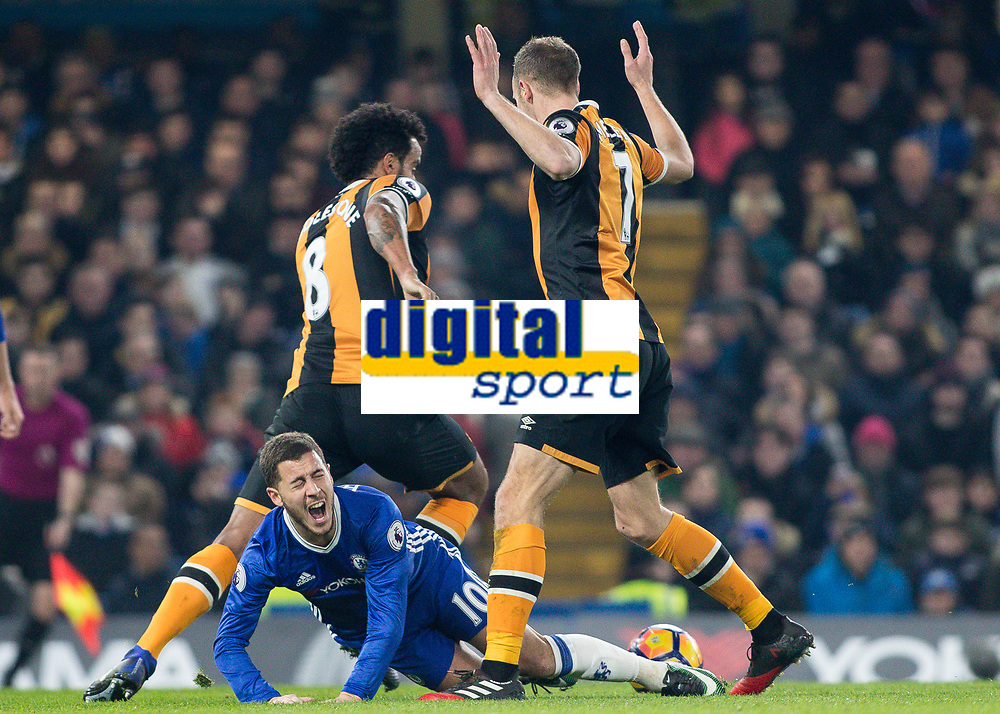 Football - 2016 / 2017 Premier League - Chelsea vs. Hull City <br /> <br /> Eden Hazard of Chelsea cries out in pain after being brought down at Stamford Bridge.<br /> <br /> COLORSPORT/DANIEL BEARHAM
