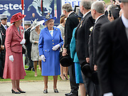 © Licensed to London News Pictures. 02/06/2012. London, UK. The Queen arrives. HRH Queen Elizabeth at The Investic Derby Festival today 2nd June 2012. The Royal Jubilee celebrations. Great Britain is celebrating the 60th  anniversary of the countries Monarch HRH Queen Elizabeth II accession to the throne this weekend Photo credit : Stephen Simpson/LNP