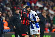 Florin Andone (10) of Brighton and Hove Albion apologises to Diego Rico (21) of AFC Bournemouth who was fouled by the Brighton player during the The FA Cup 3rd round match between Bournemouth and Brighton and Hove Albion at the Vitality Stadium, Bournemouth, England on 5 January 2019.
