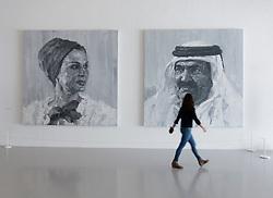 Royal portraits by Yan Pei-Ming at Mathaf: Arab Museum of Modern Art, Doha , Qatar.