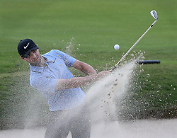 September 21, 2017 - Atlanta, GA, USA - Kyke Stanley hits from a bunker to the 18th green on his way to a par to finish at 6-under for the early lead in the opening round of the Tour Championship on Thursday, Sept. 21, 2017, at Eastlake Golf Club in Atlanta. (Credit Image: © Curtis Compton/TNS via ZUMA Wire)