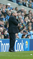 Photo. Andrew Unwin, Digitalsport.<br /> Manchester City v Southampton, FA Barclaycard Premier League, City of Manchester Stadium, Manchester 17/04/2004.<br /> Manchester City's manager, Kevin Keegan, contemplates his team's performance.