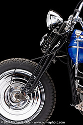 Matt and Carl Olsen's custom antique knucklehead.  Photographed by Michael Lichter in Sturgis, SD. August 2, 2021. ©2021 Michael Lichter