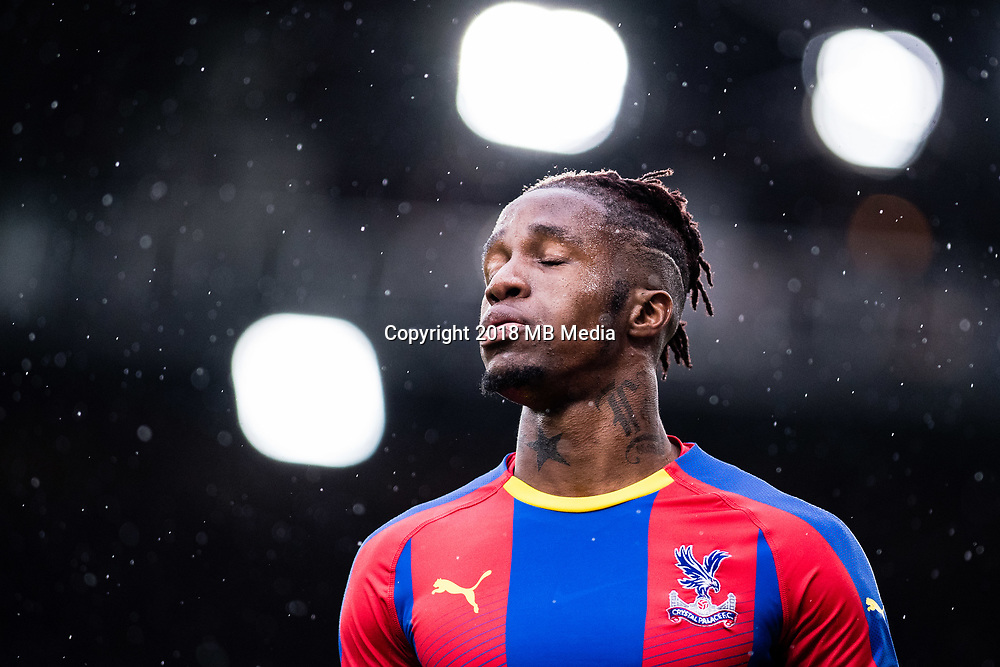 LONDON, ENGLAND - OCTOBER 06: Wilfried Zaha of Crystal Palace reaction during the Premier League match between Crystal Palace and Wolverhampton Wanderers at Selhurst Park on October 6, 2018 in London, United Kingdom. (Photo by Sebastian Frej/MB Media)