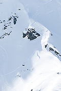 Verbier, Switzerland. March 23rd 2010..X-Trem Verbier 2010 - Freeride World Tour.Bec des Rosses from Col des Gentianes.American snowboarder Steve Klassen