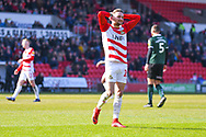 Alfie May of Doncaster Rovers (19) reacts to a missed chance during the EFL Sky Bet League 1 match between Doncaster Rovers and Plymouth Argyle at the Keepmoat Stadium, Doncaster, England on 13 April 2019.
