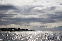 View of Inis Oirr the Aran Islands from the sea in Galway Ireland
