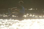 Boston, USA, Championship men's Single  IRL M1X Sean JACOB, Head of the Charles, Race Charles River,  Cambridge,  Massachusetts. Saturday  20/10/2007 [Mandatory Credit Peter Spurrier/Intersport Images]..... , Rowing Course; Charles River. Boston. USA , Sunrise, Sunsets, Silhouettes