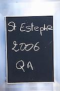 sign on tank saint estephe 2006 chateau le boscq st estephe medoc bordeaux france