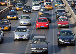 Traffic on city center highway in Beijing China